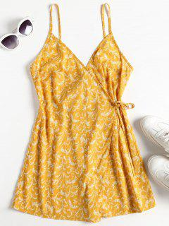 Wrap Front Floral Cami Playsuit - Mostaza M