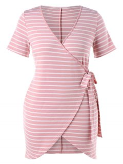 Plus Size Striped Tied Dress - Light Pink 2x