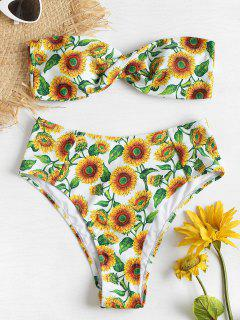 Sonnenblumen Hohe Taille Twist Bandeau Bikini - Multi-j S