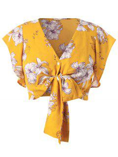 Plus Size Flower Crop Bowknot Blouse - Bright Yellow 1x