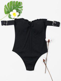 Off Shoulder Frills Trim Ribbed Bodysuit - Black S