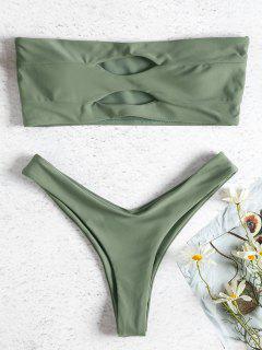 Bikini De Pierna Alta De Corte Recto - Verde Camuflaje M