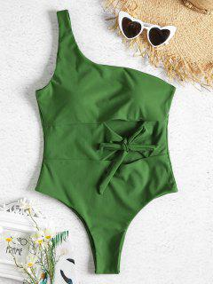One Shoulder Cutout Tied One Piece Swimsuit - Spring Green M