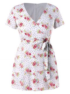 Plus Size Floral Dots Belted Romper - White 1x