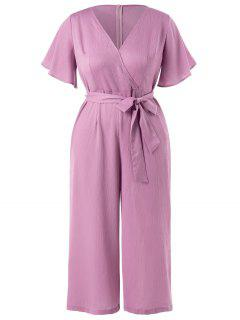 Plus Size Wide Leg Belted Jumpsuit - Lilac 2x
