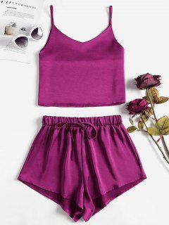 Cami Plain Top And Shorts Set - Plum Velvet M
