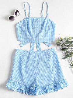 Gingham Cami Top And Shorts Two Piece Set - Sea Blue M
