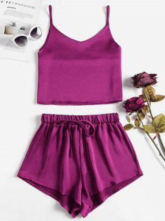 Cami Plain Top Und Shorts Set - Pflaume Samt L