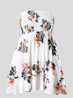 Floral Plus Size Tube Smocked Dress - White 2x
