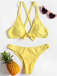 Criss Cross Knot Bikini - Yellow L