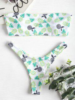 Bandeau Ananas Bikini Set - Weiß L