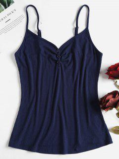 Buttoned Ribbed Camisole Top - Deep Blue L