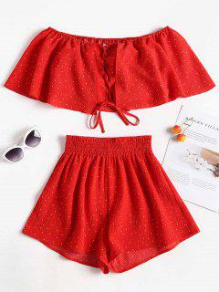 Polka Dot Top And Shorts Matching Set - Love Red M