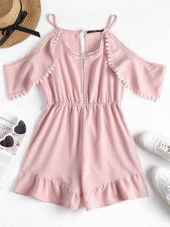 Crochet Trim Cold Shoulder Romper - Light Pink L