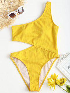 Ribbed Cutout One Shoulder Swimsuit - Yellow L