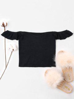 Off Shoulder Knit Crop Tee - Black L
