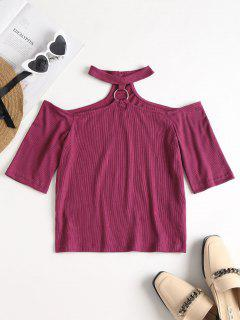Ribbed Choker Top - Velvet Maroon S