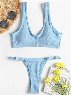 Ribbed Snap Button Thong Bikini Set - Day Sky Blue S