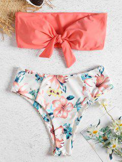 Bandeau High Waisted Floral Bikini - Watermelon Pink S