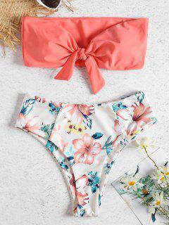 Bikini Floral Con Cintura Alta Y Estilo Bandeau - Sandía Rosa M
