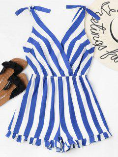 Striped Ruffle Hem Romper - Royal Blue S