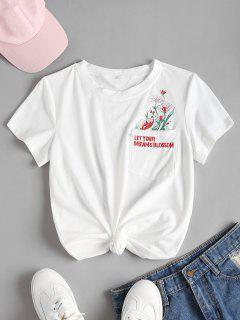 Camiseta Bordada Anudada Floral - Blanco L
