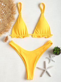 Bikini En Ensemble En String Et à Volants  - Jaune Canard Caoutchouc S