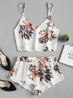 Floral Cami Top Shorts Two Piece Set - White M