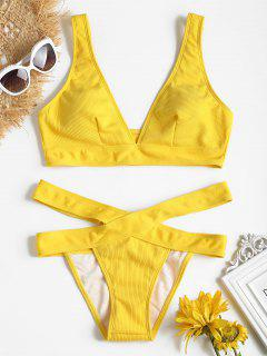 Bikini En Ensemble Avec Haut Col Plongeant Et Bas En Bandage  - Jaune L