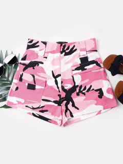 Camouflage High Waist Shorts - Pig Pink M