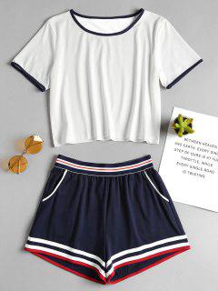 Ringer Tee And Elastic Shorts Two Piece Set - White L