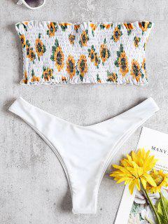 Sunflower Smocked Thong Bikini Set - White L