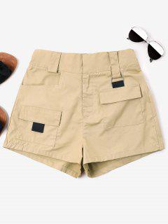 High Waist Pockets Shorts - Light Khaki L