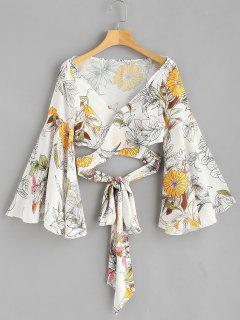 Flare Sleeve Floral Wrap Blouse - White L