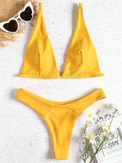 Plunge Neck Thong Bikini Set - Bright Yellow L