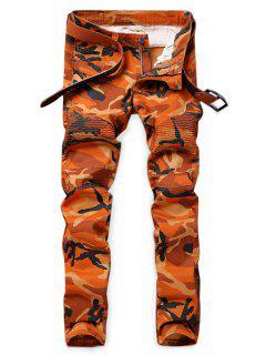 Camouflage Print Patchwork Biker Jeans - Acu Camouflage 32