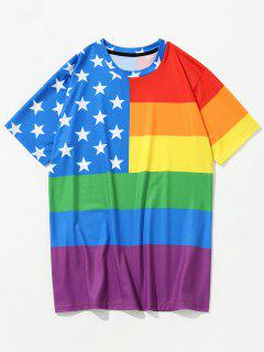 Camiseta Impresa Con Rayas 3D Y Estrellas - Orquídea Azul Xl