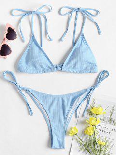 Tie Shoulder String Bikini - Light Sky Blue S