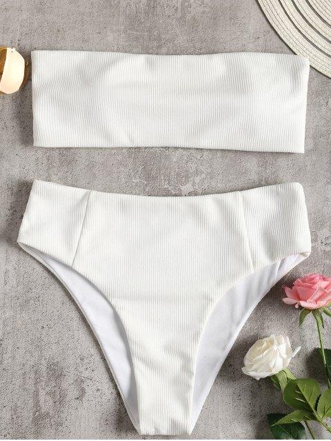 Trägerloses geripptes Hoher Schlitz Bikini Set - Weiß S Mobile