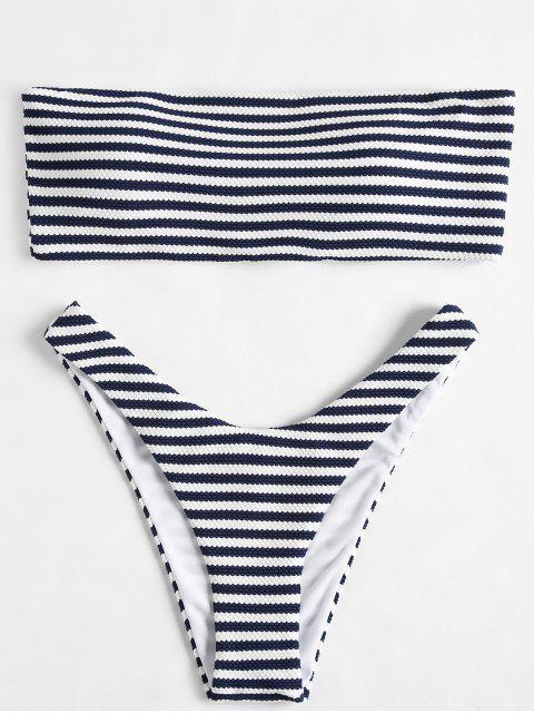 Streifen trägerlosen hohe Schlitz Bikini Set - Mitternacht Blau S Mobile