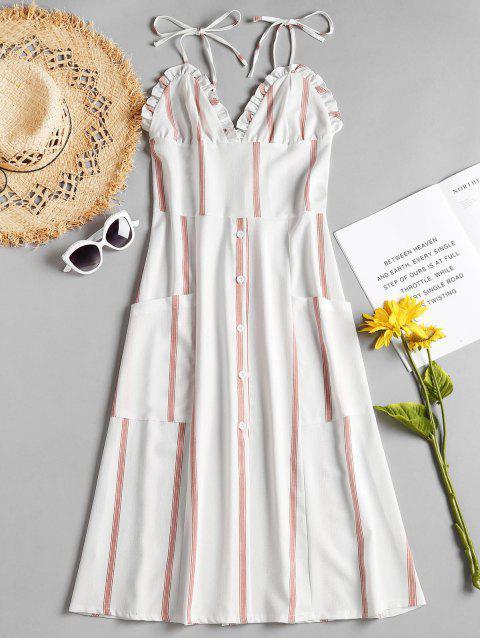 Streifen Rüschen Cami Kleid - Weiß S Mobile