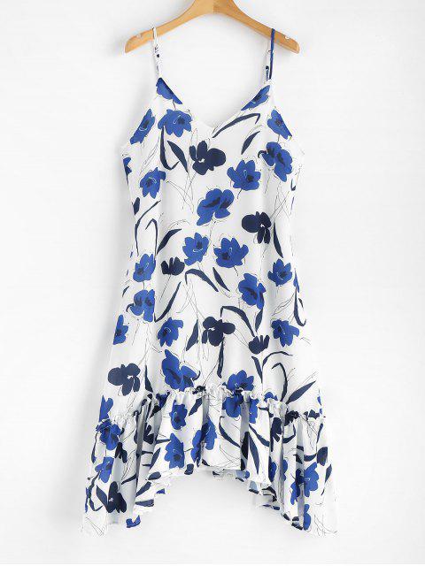 buy Floral Print Asymmetric Cami Dress - WHITE M Mobile