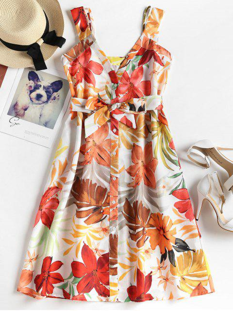 sale Floral Leaves Print Belted Dress - MULTI L Mobile