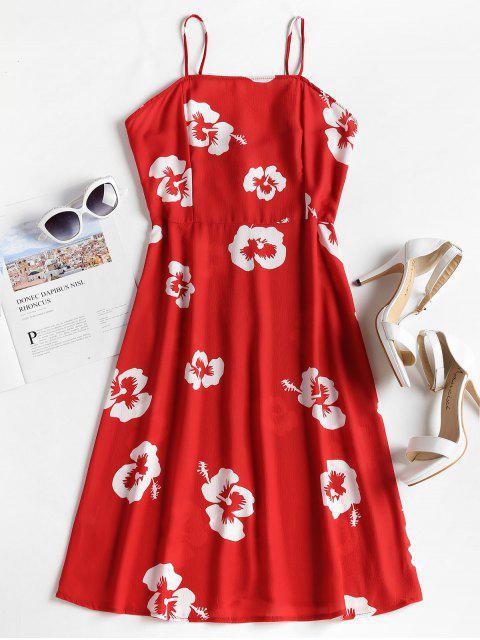 hot Floral Print Spaghetti Strap Dress - LOVE RED M Mobile