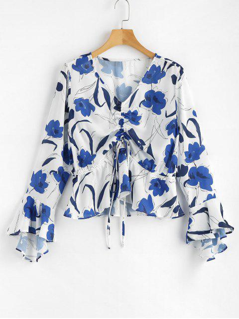outfits Floral Print Cinched Blouse - WHITE M Mobile