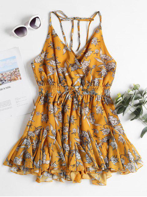 trendy Floral Print Ruffles Slip Romper - GOLDEN BROWN L Mobile