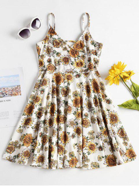trendy Empire Waist Sunflower Cami Dress - MULTI L Mobile