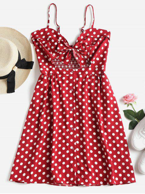 best Button Up Polka Dot Mini Dress - CHERRY RED S Mobile