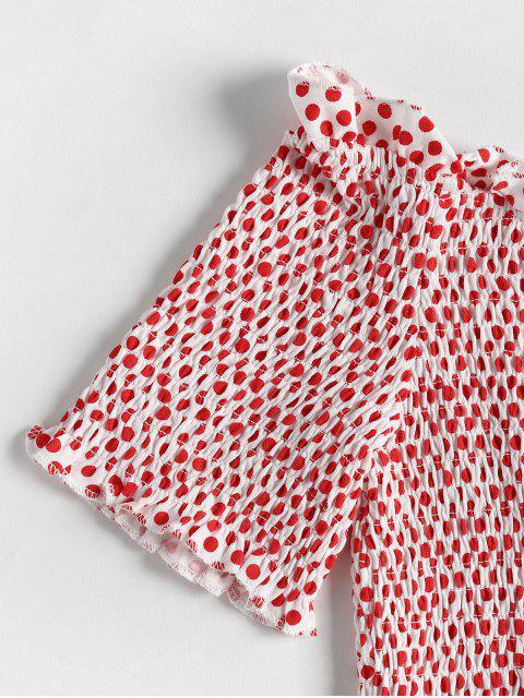shops Polka Dot Off The Shoulder Smocked Top - RED M Mobile