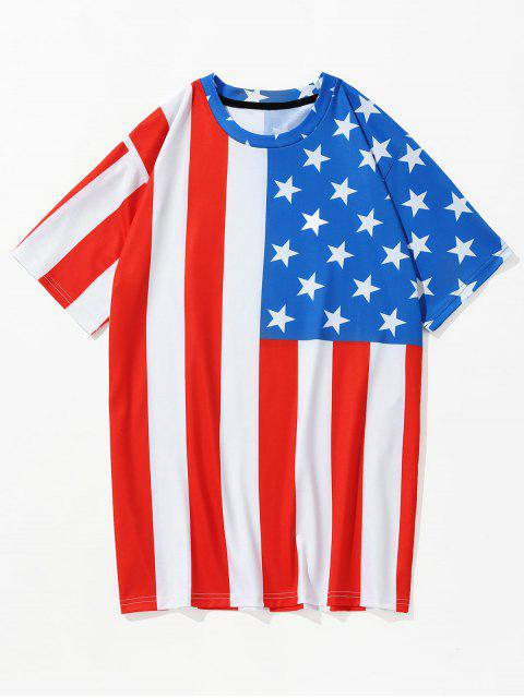 women 3D American Flag Printed Patriotic T-shirt - CHESTNUT RED L Mobile